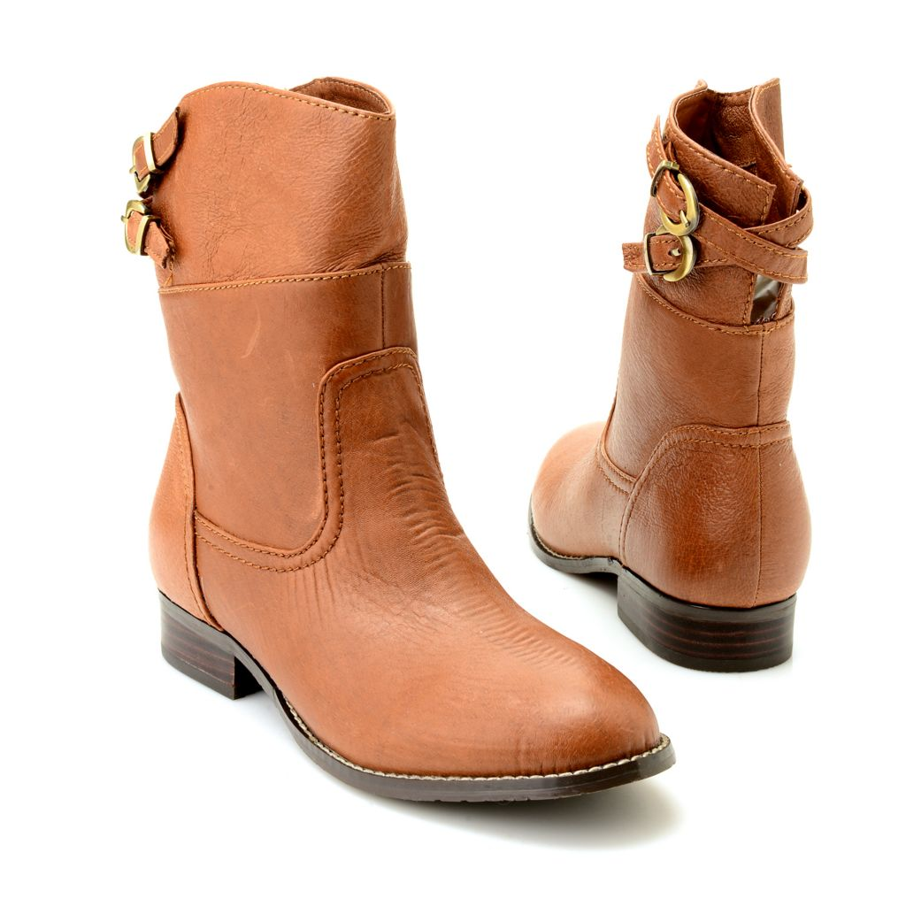 718-994 - Chinese Laundry Leather Buckle Detailed Round Toe Mid-Calf Boots