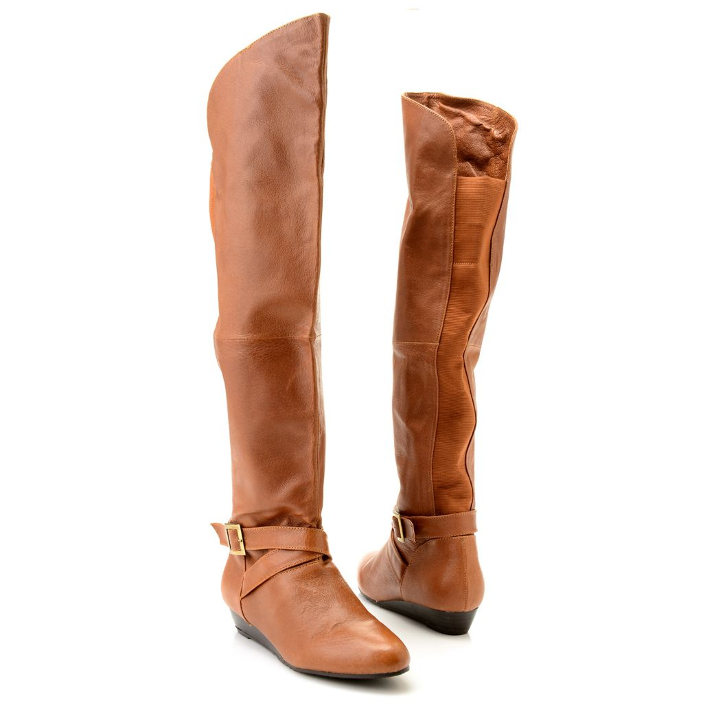 718-995 - Chinese Laundry Leather Buckle Detailed Knee-High Boots