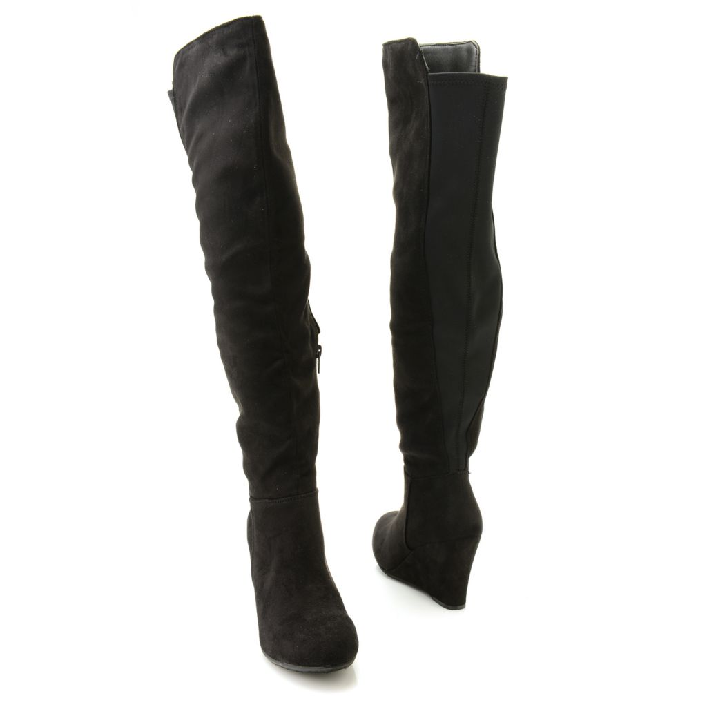 718-996 - Chinese Laundry Sueded Side Zip Pull-on Wedge Knee-High Boots