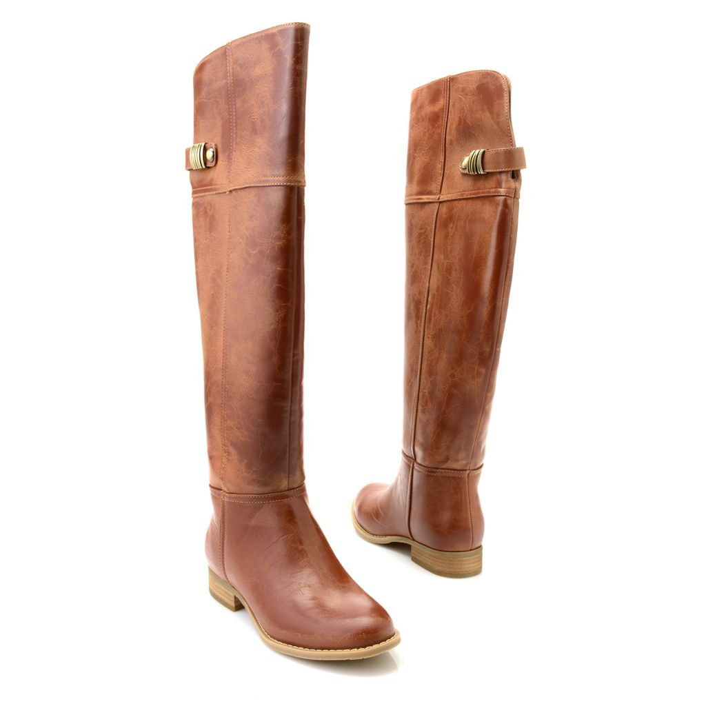 718-997 - Chinese Laundry Buckle Detailed Pull-on Round Toe Knee-High Boots