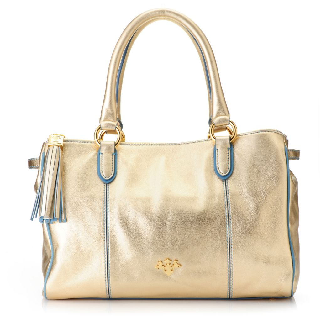 719-001 - PRIX DE DRESSAGE Leather Double Handle Tasseled Multi Compartment Satchel w/ Strap