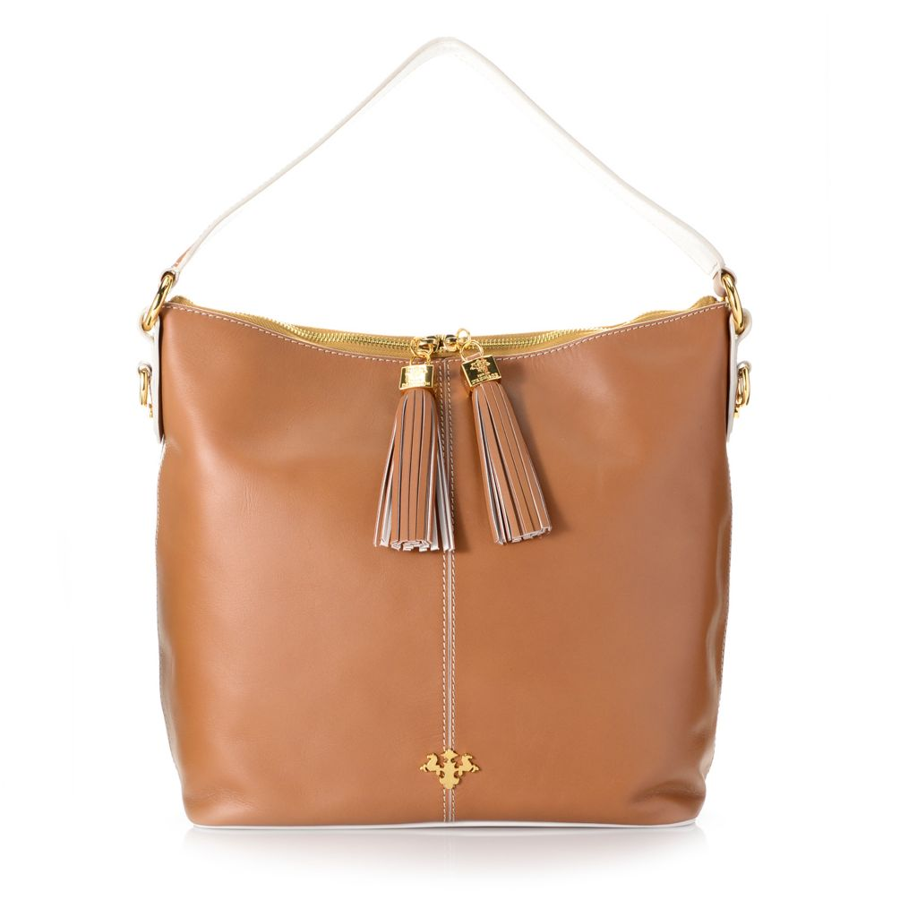 719-002 - PRIX DE DRESSAGE Smooth Leather Tasseled Zip Top Hobo Handbag w/ Cross Body Strap