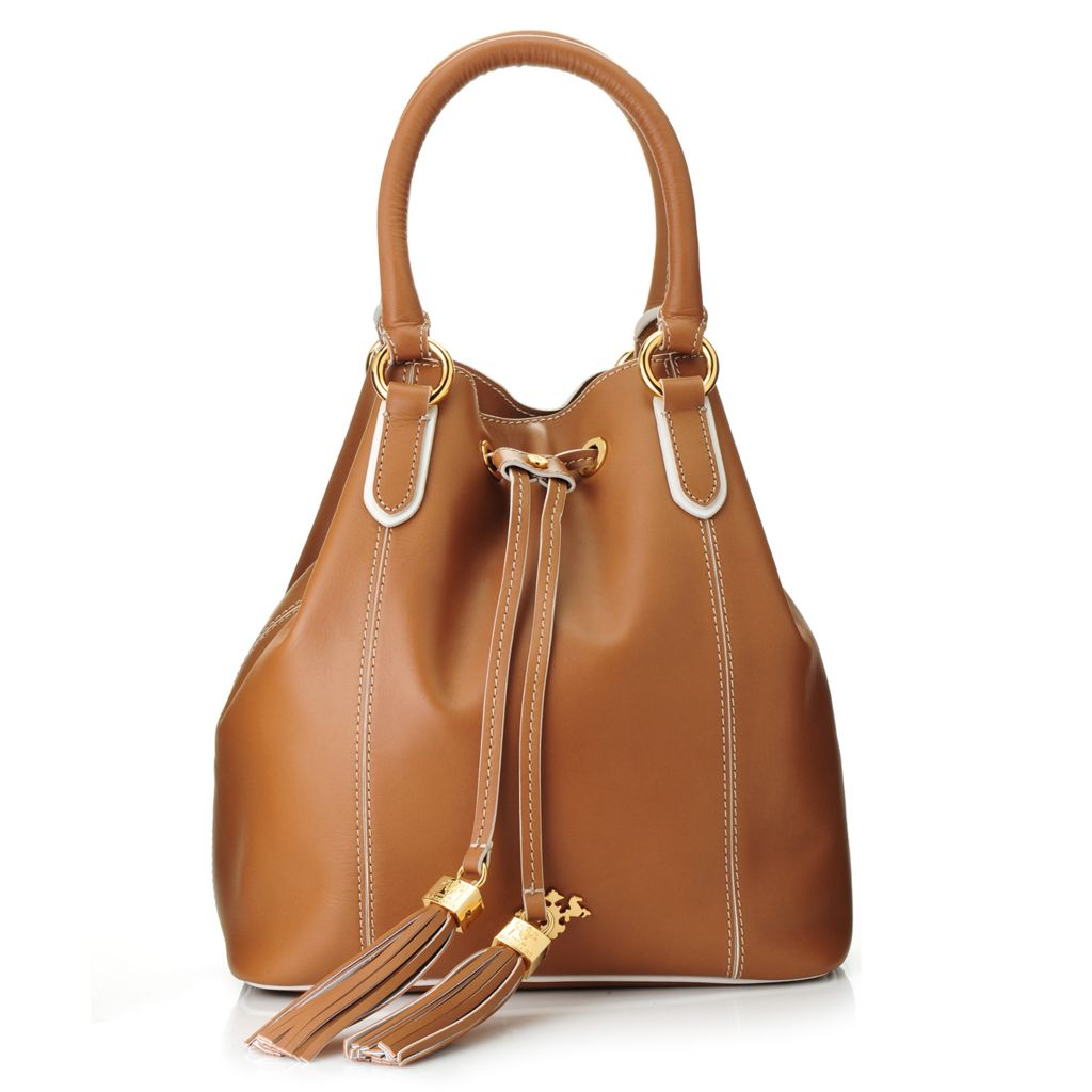 719-003 - PRIX DE DRESSAGE Leather Double Handle Tasseled Bucket Bag w/ Shoulder Strap