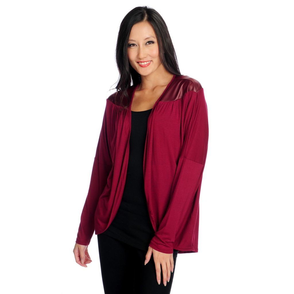 719-005 - Kate & Mallory Mixed Media Long Sleeved Open Front Cardigan