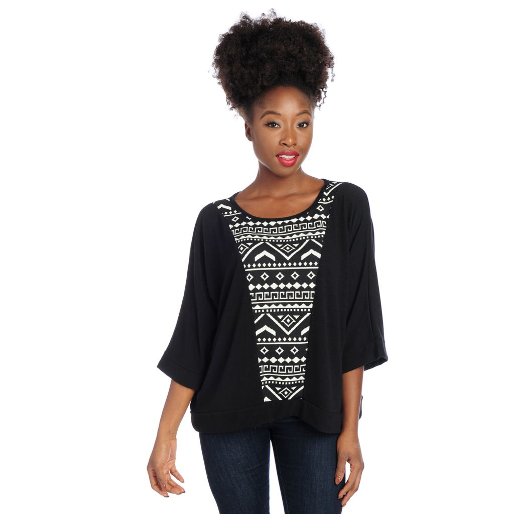 719-008 - Kate & Mallory Mixed Media Dolman Sleeve Printed Inset Sweater