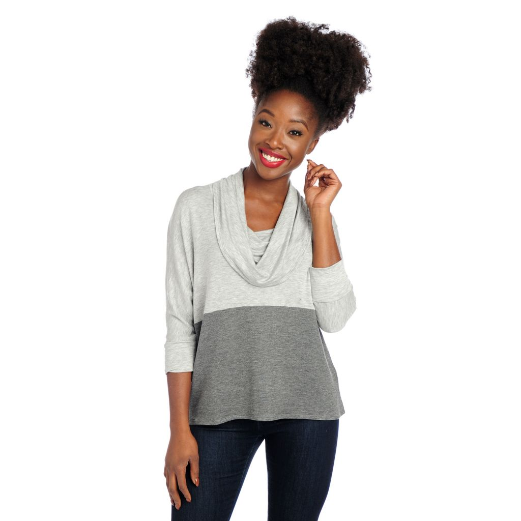 719-010 - Kate & Mallory Knit Dolman Sleeved Cowl Neck Color Block Top