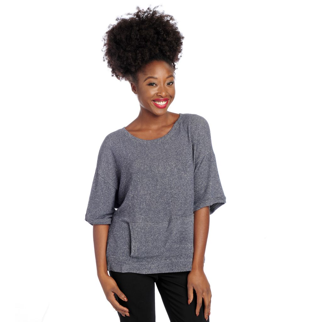 719-011 - Kate & Mallory Fine Gauge Knit Drop Shoulder Front Pocket Pullover Sweater