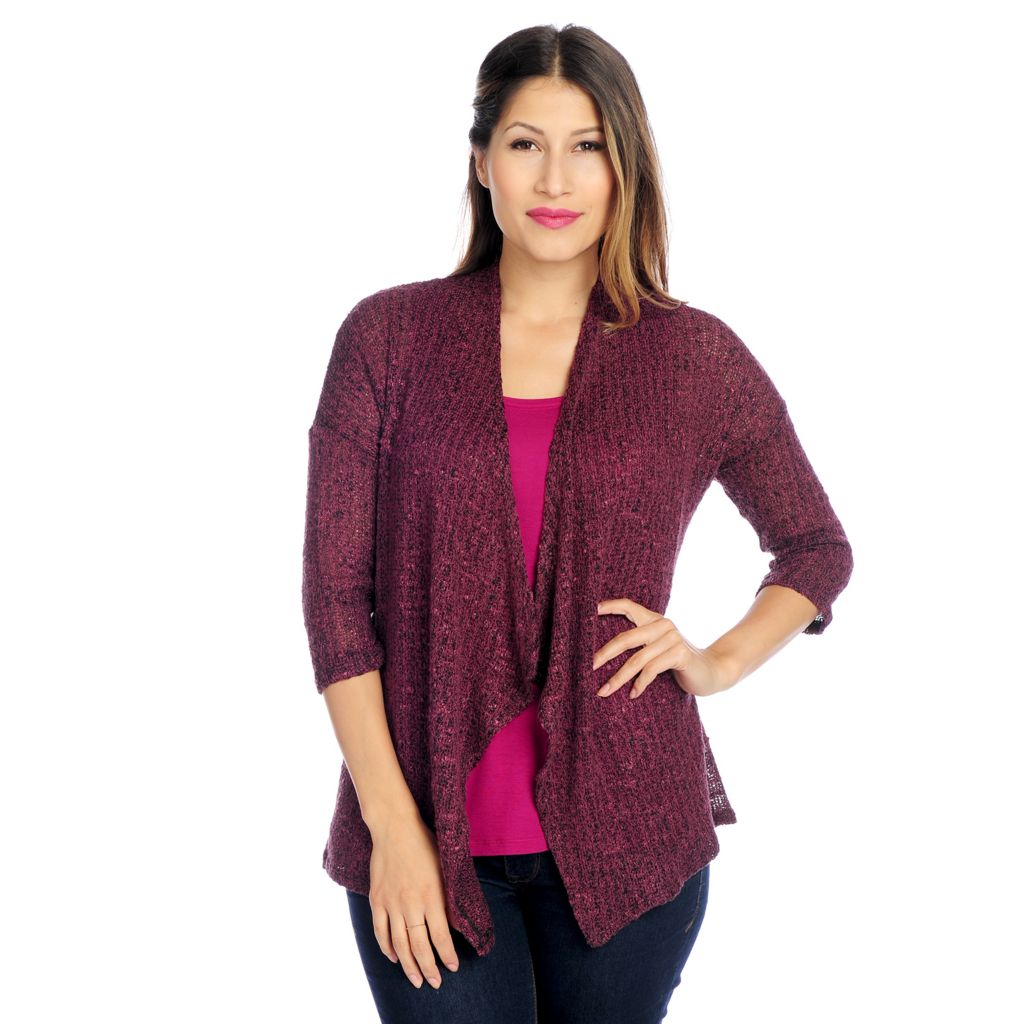 719-012 - Kate & Mallory Sweater Knit 3/4 Sleeved Open Front Cardigan