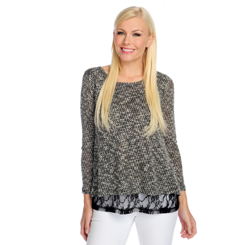 719-013 - Kate & Mallory Textured Knit Long Sleeved Lace Inlay Tulip Back Top