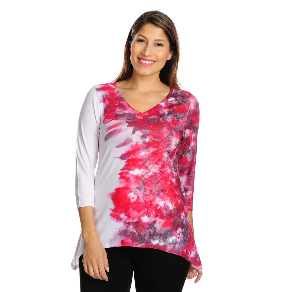 719-017 - One World Tie-Dyed Knit 3/4 Sleeved V-Neck Sharkbite Top