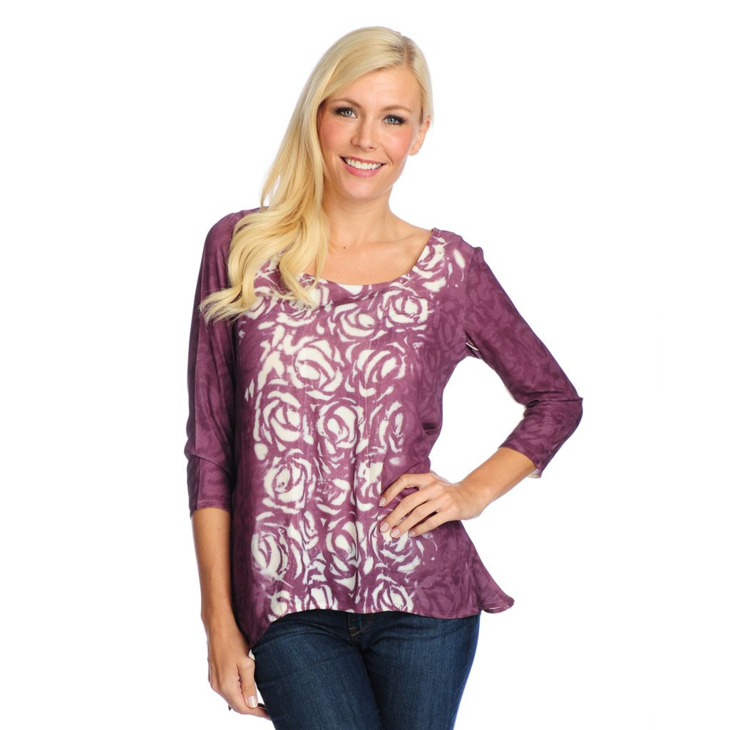 719-018 - One World Mixed Media 3/4 Sleeved Sharkbite Hem Scoop Neck Top