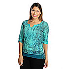 719-021 - One World Burnout Knit Roll Tab Sleeved Scoop Neck Slouchy Henley