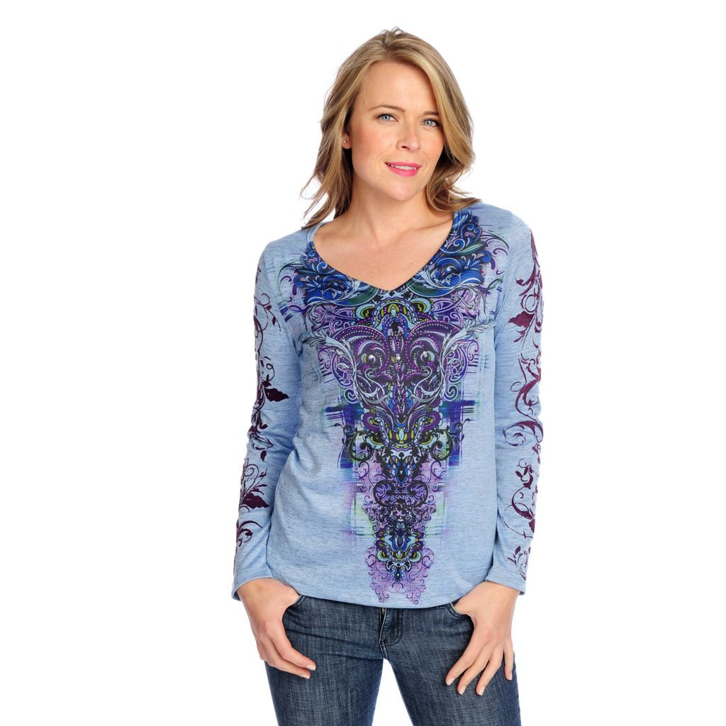 719-023 - One World Heathered Knit Long Sleeve Flocking Detailed Henley Top