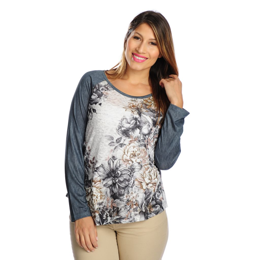 719-025 - One World Mixed Media Raglan Sleeved Scoop Neck Asymmetrical Top