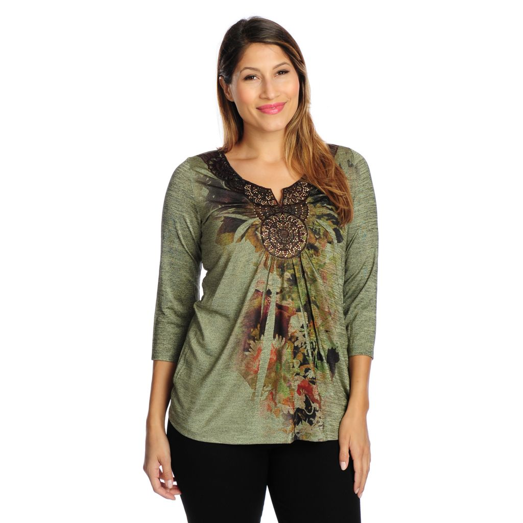 719-026 - One World Printed Knit 3/4 Sleeved Medallion Accent Slinky Top