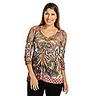 719-028 - One World Printed Knit 3/4 Sleeve Ruched Front Hi-Lo Top