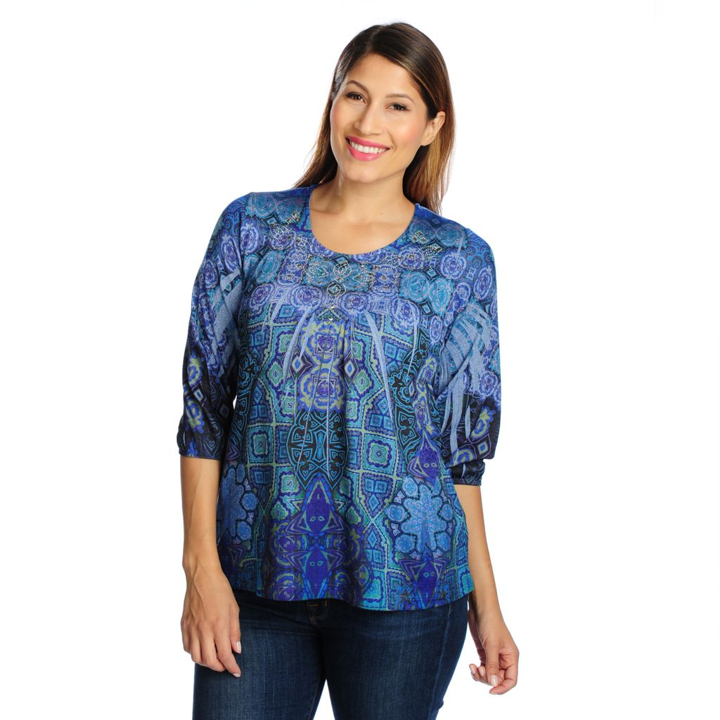 719-029 - One World Sweater Knit Blouson Sleeved Lightweight Printed Top