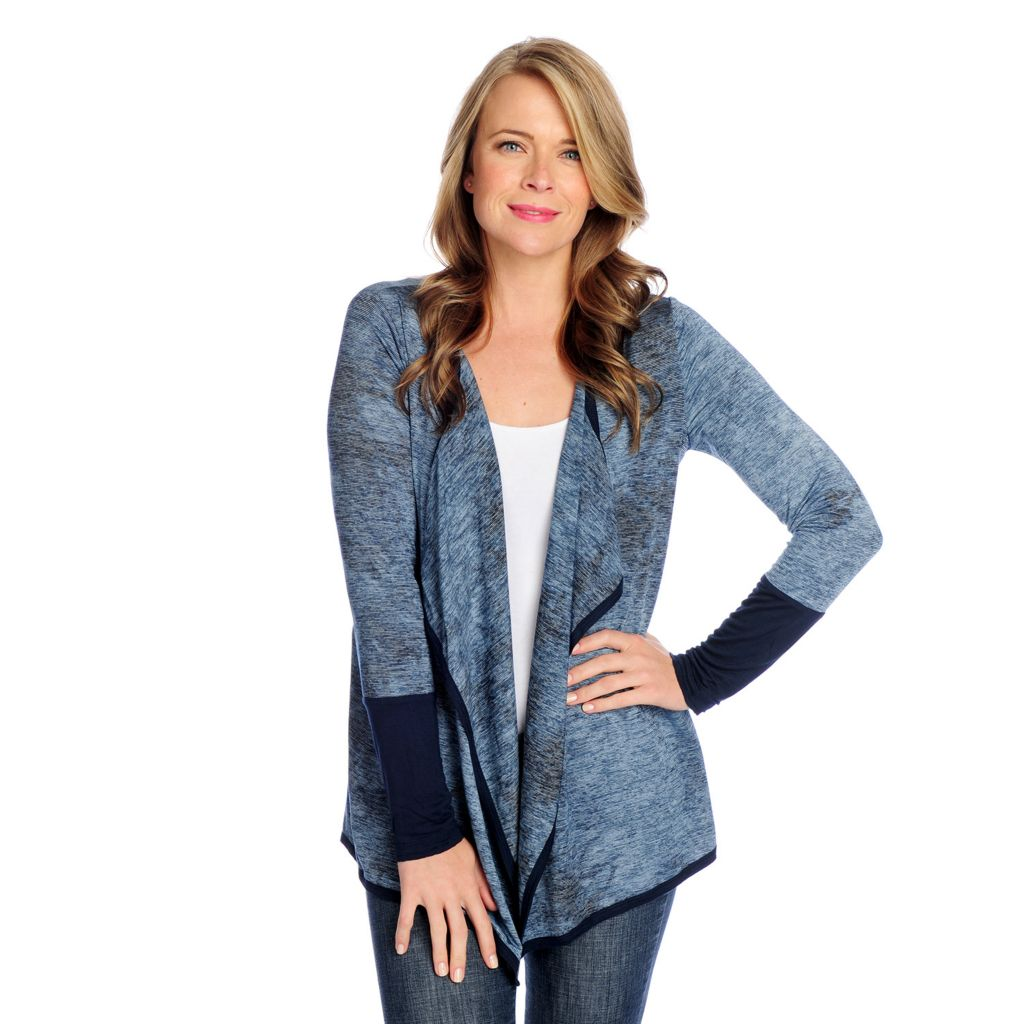 719-030 - One World Tie-Dyed Knit Long Sleeved Open Front Cascade Cardigan