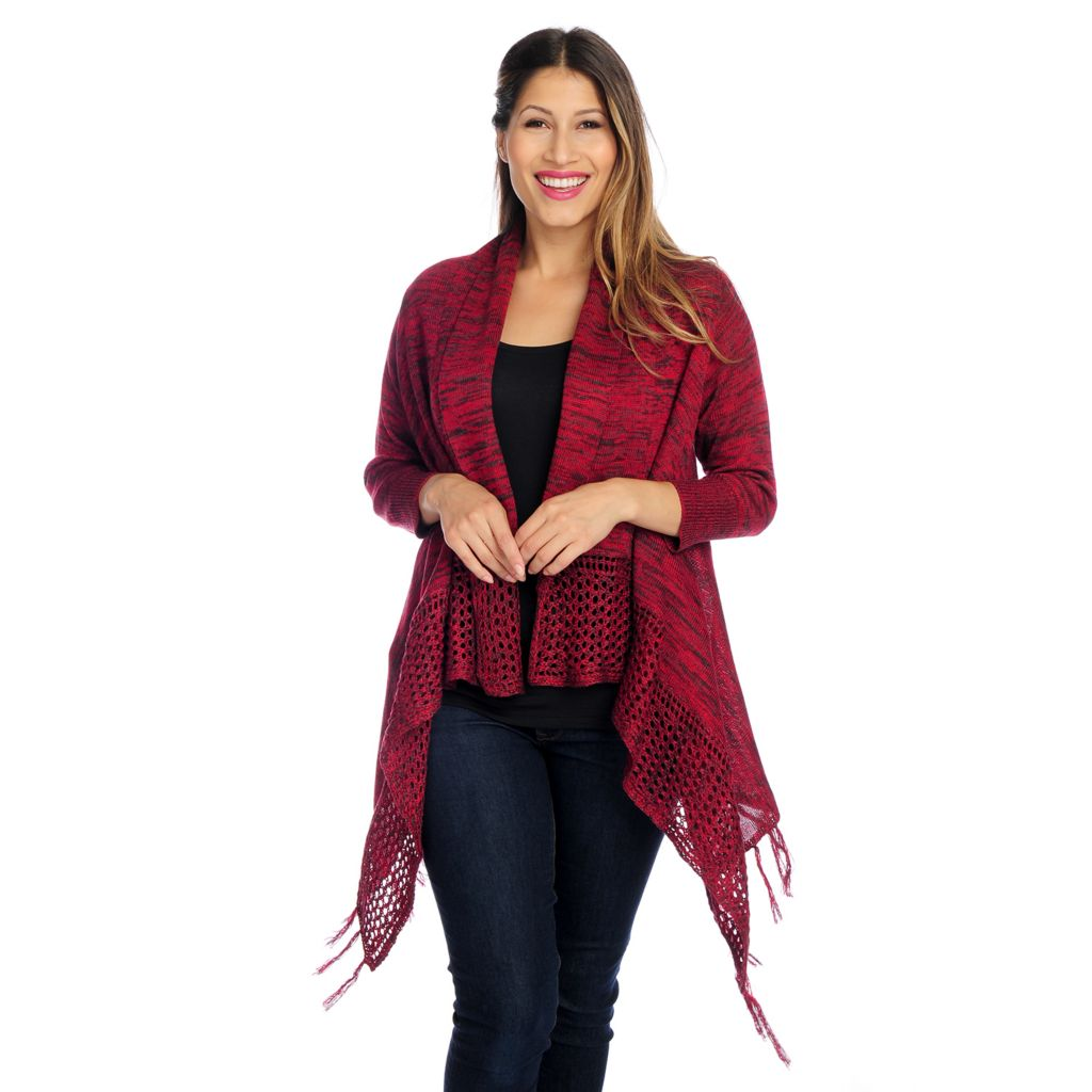719-031 - One World Sweater Knit 3/4 Sleeved Fringe Detailed Open Cardigan