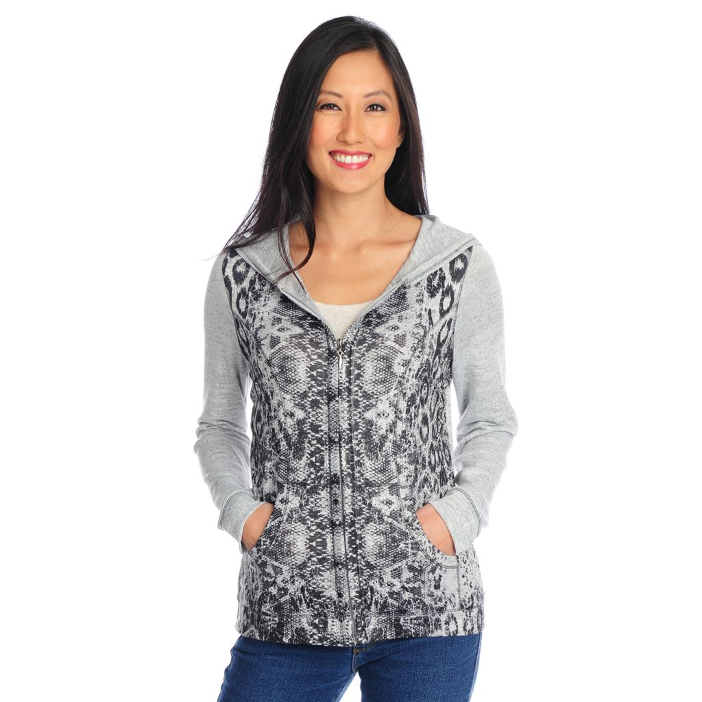 719-032 - One World Heather Knit Long Sleeved Animal Printed Zip-up Hoodie