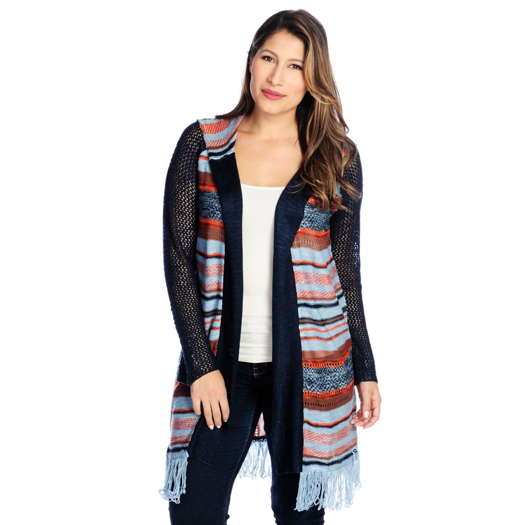 719-033 - One World Mixed Knit Long Sleeved Open Front Hooded Cardigan