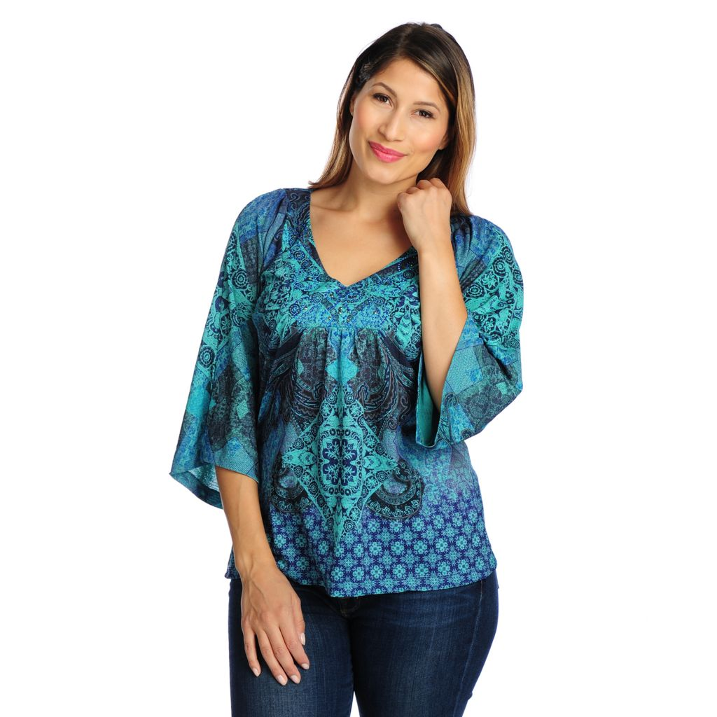 719-034 - One World Printed Knit 3/4 Sleeve Embellished V-Neck Top