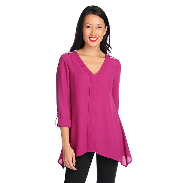 719-037 - Kate & Mallory Woven Roll Tab Sleeved Y-Neck Sharkbite Hem Top