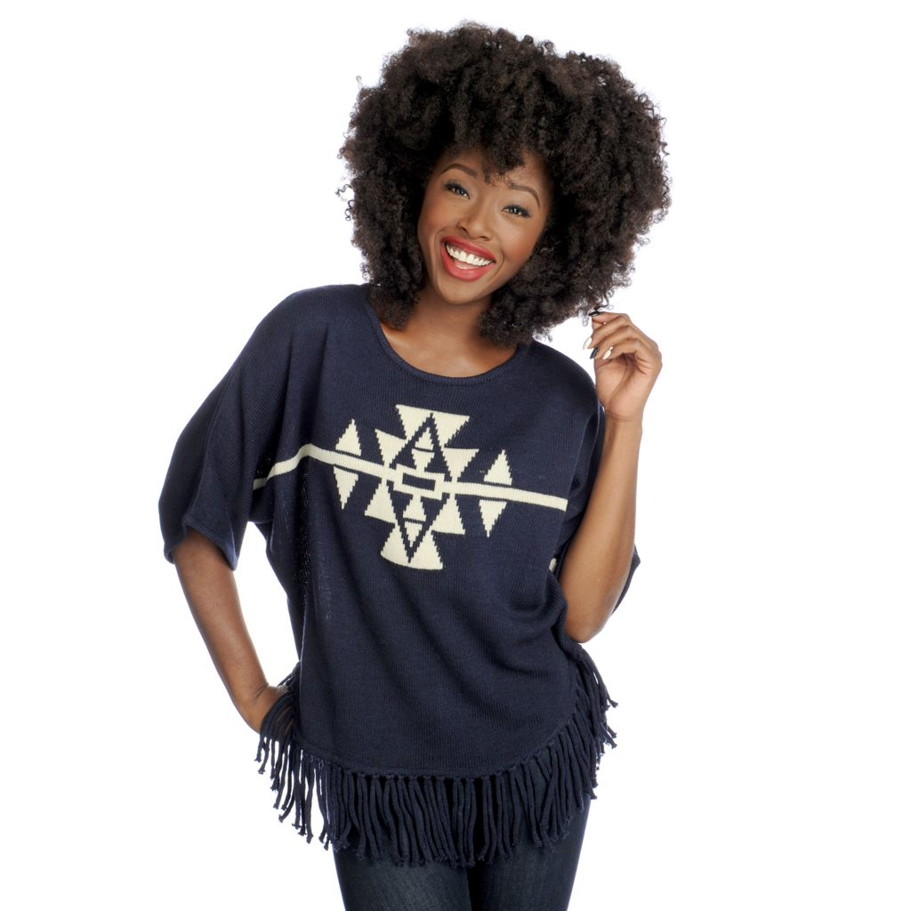 719-038 - Kate & Mallory Sweater Knit Dolman Sleeved Fringe Hemmed Poncho Top