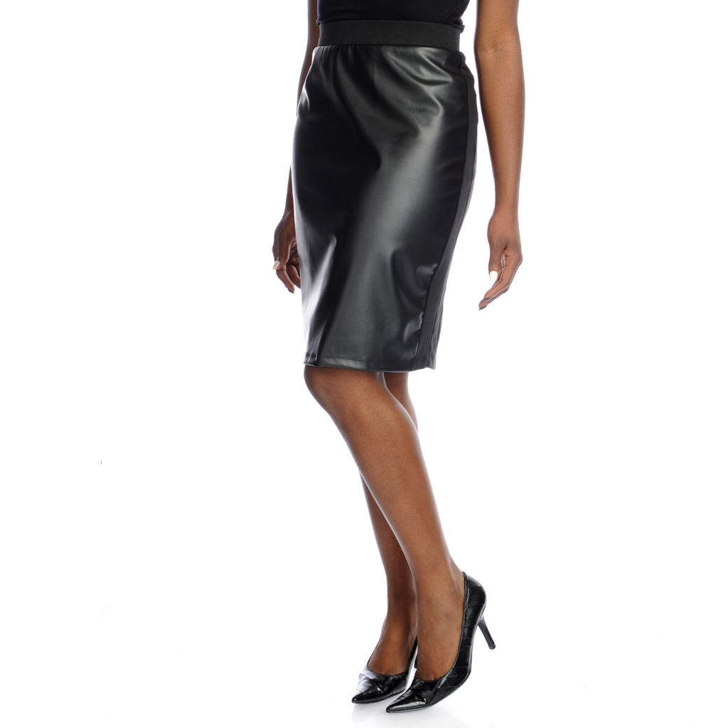 719-039 - Kate & Mallory Ponte Knit Faux Leather Front Elastic Waist Back Zip Skirt