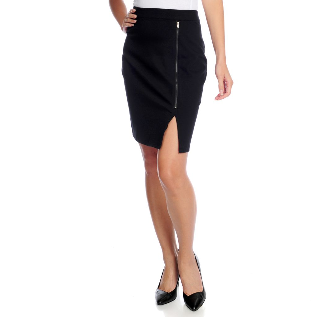 719-040 - Kate & Mallory Ponte Knit Zipper Detailed Above Knee Back Zip Skirt