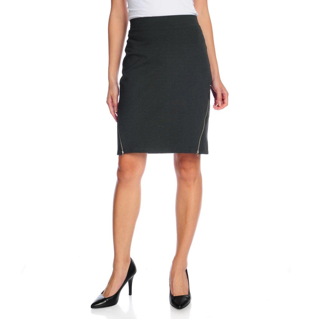 719-041 - Kate & Mallory Ponte Knit Elastic Waist Double Zipper Knee Length Skirt