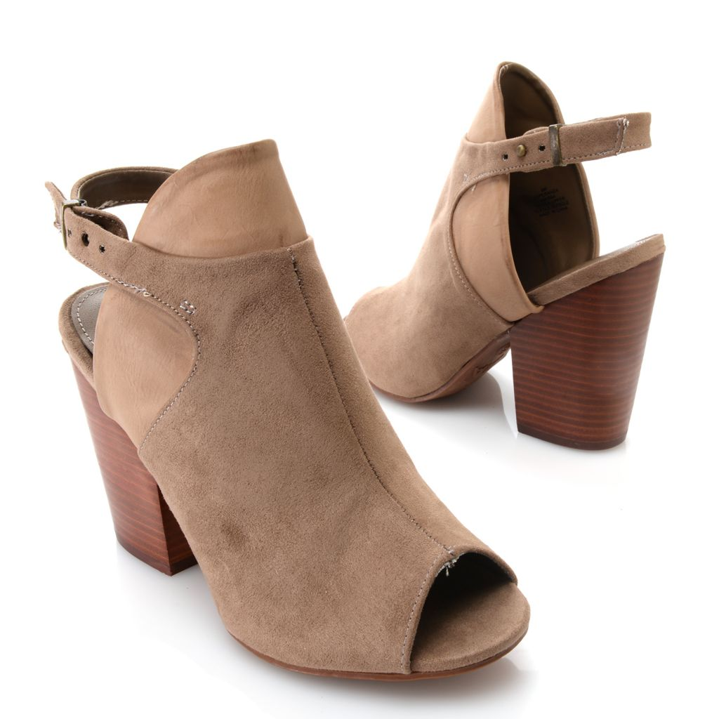 719-052 - MIA Sueded & Smooth Peep Toe Ankle Booties