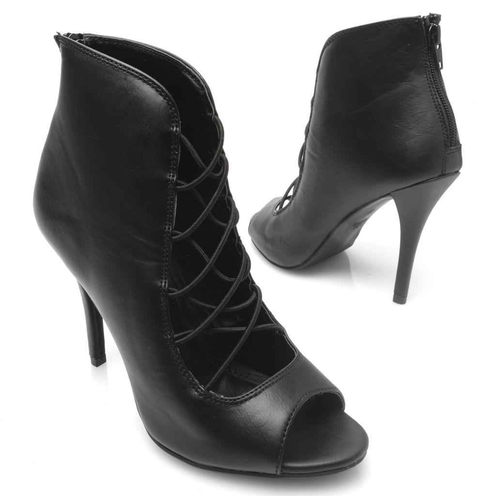 719-053 - MIA Peep Toe Back Zip Stiletto Heel Ankle Booties