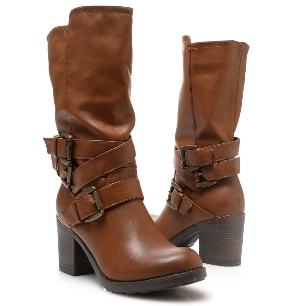 719-057 - MIA Buckle Detailed Pull-on Mid-Calf Boots