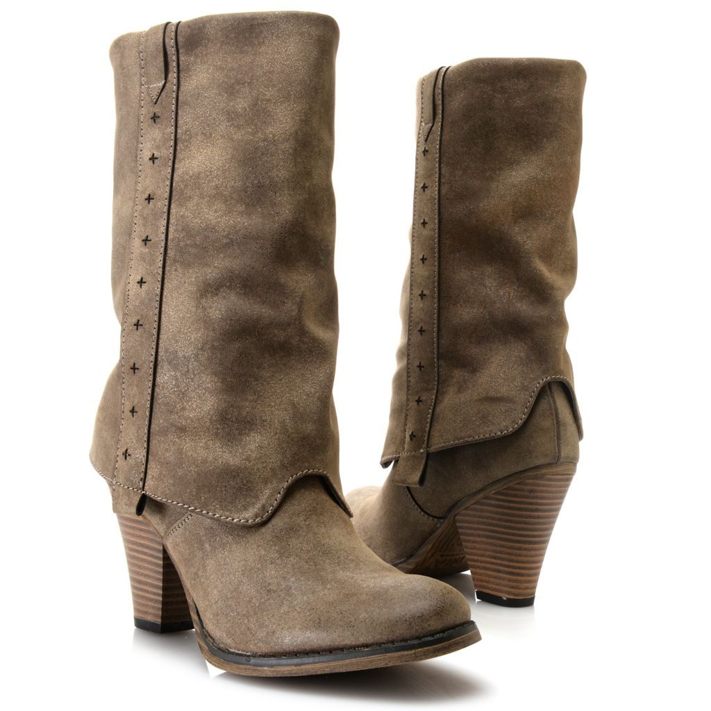 719-059 - MIA Sueded & Distressed Mid-Calf Cuffed Boots