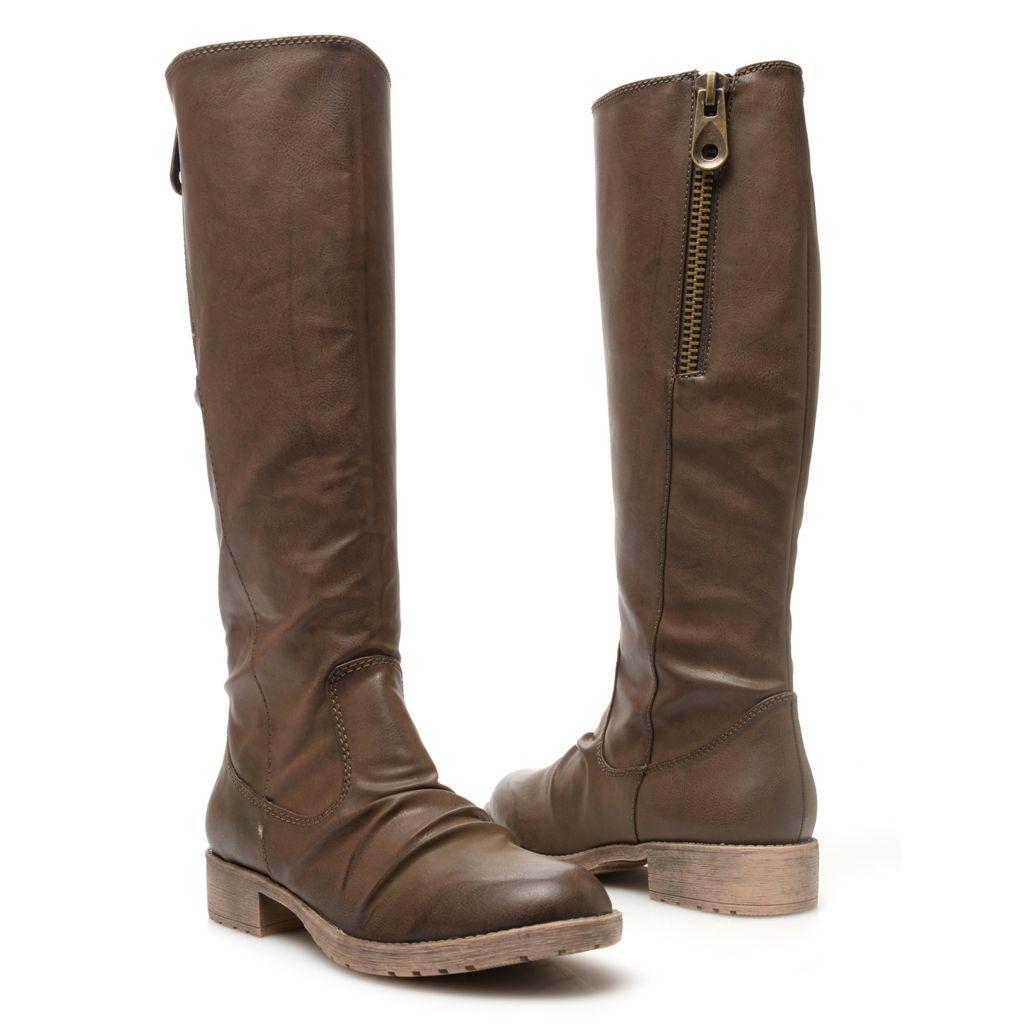 719-064 - MIA Diagonal Zipper Detailed Knee-High Riding Boots