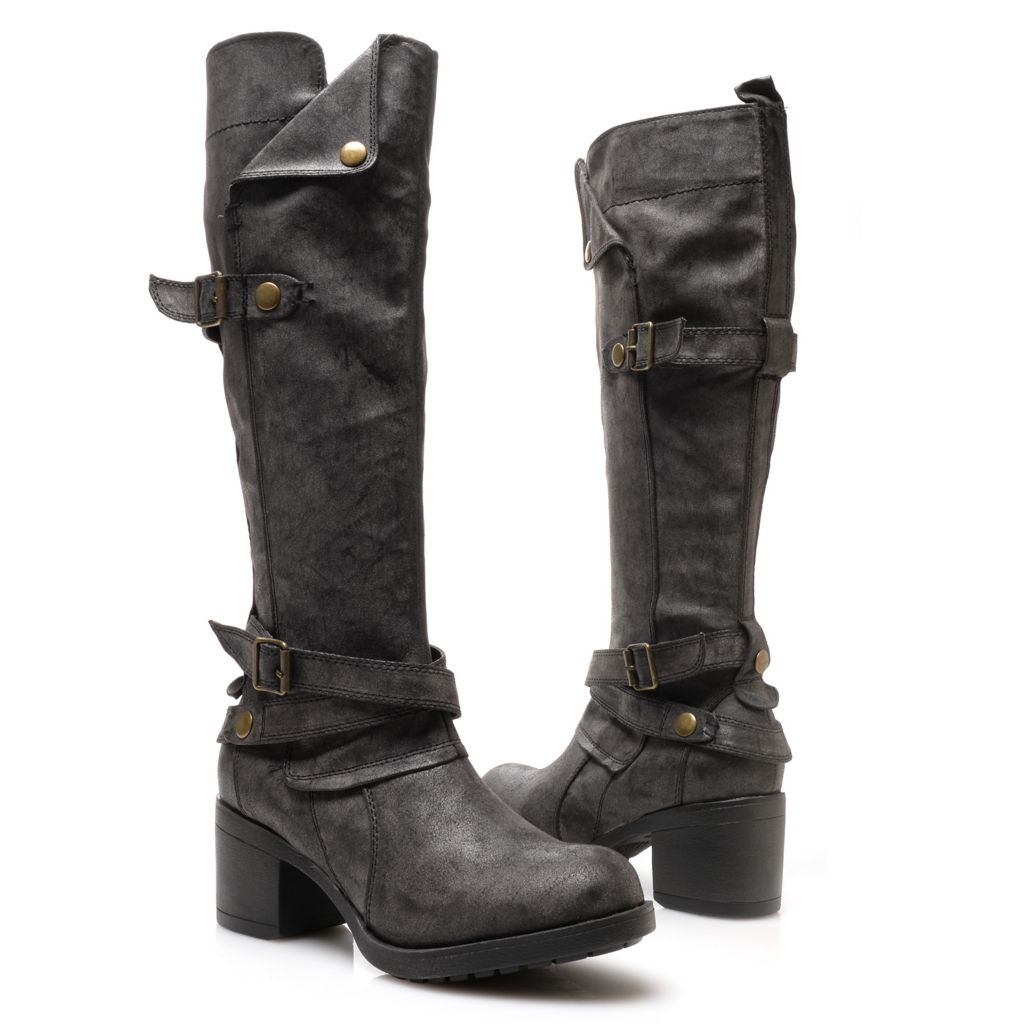719-068 - MIA Distressed & Sueded Side Zip Military-Inspired Knee-High Boots
