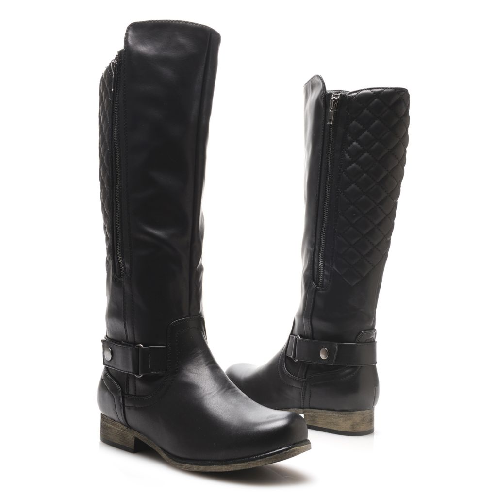719-074 - MIA Quilted Design Snap Buckle Strap Detailed Side Zip Knee-High Boots