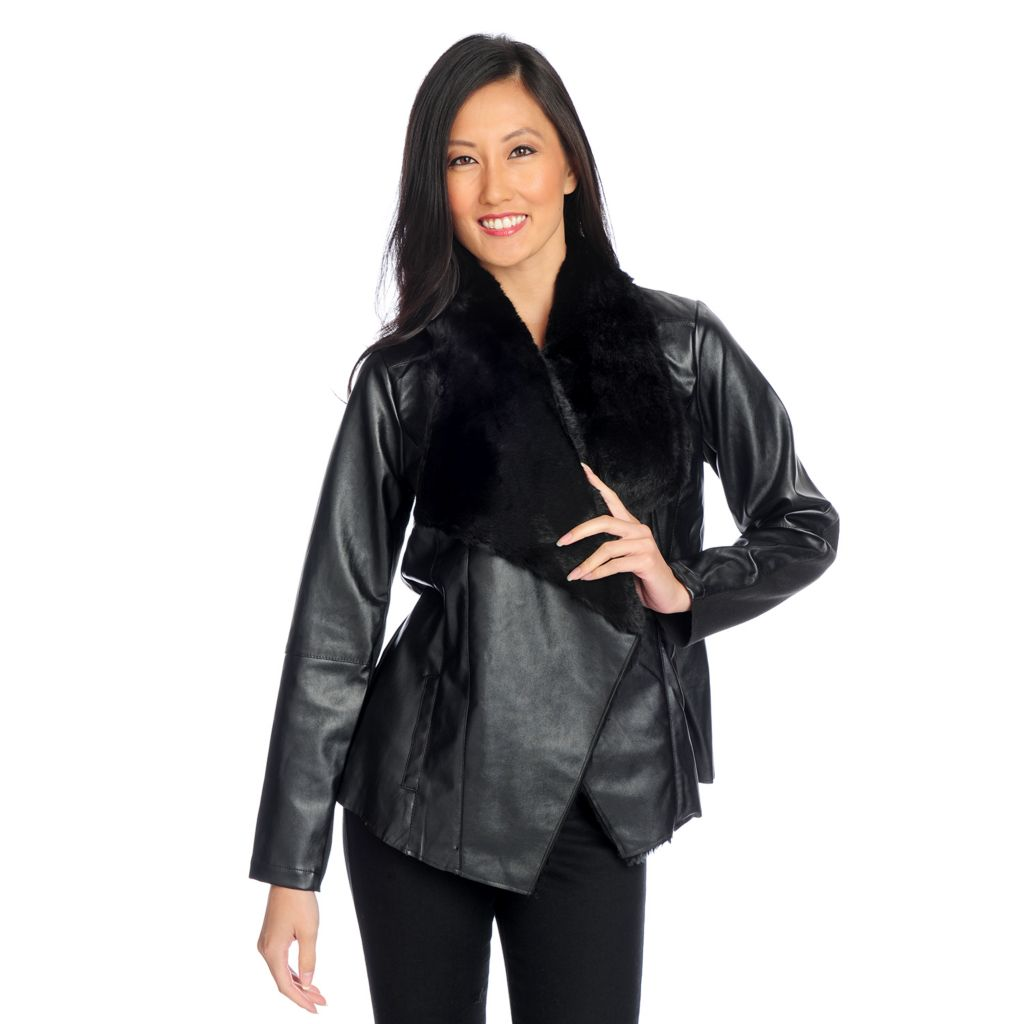 719-077 - WD.NY Faux Leather & Faux Fur Long Sleeved Open Front Jacket