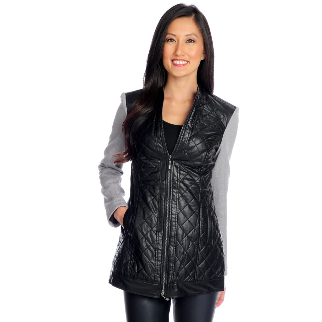 719-079 - WD.NY Mixed Media Long Sleeved Two-Way Zipper Quilted Jacket