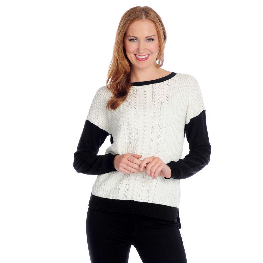 719-082 - WD.NY Mixed Knit Drop Shoulder Color Block Zip Back Sweater