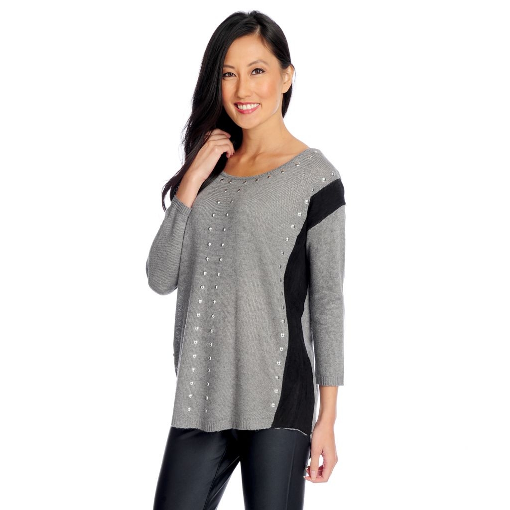 719-083 - WD.NY Knit Long Sleeved Faux Suede Detail Studded Sweater