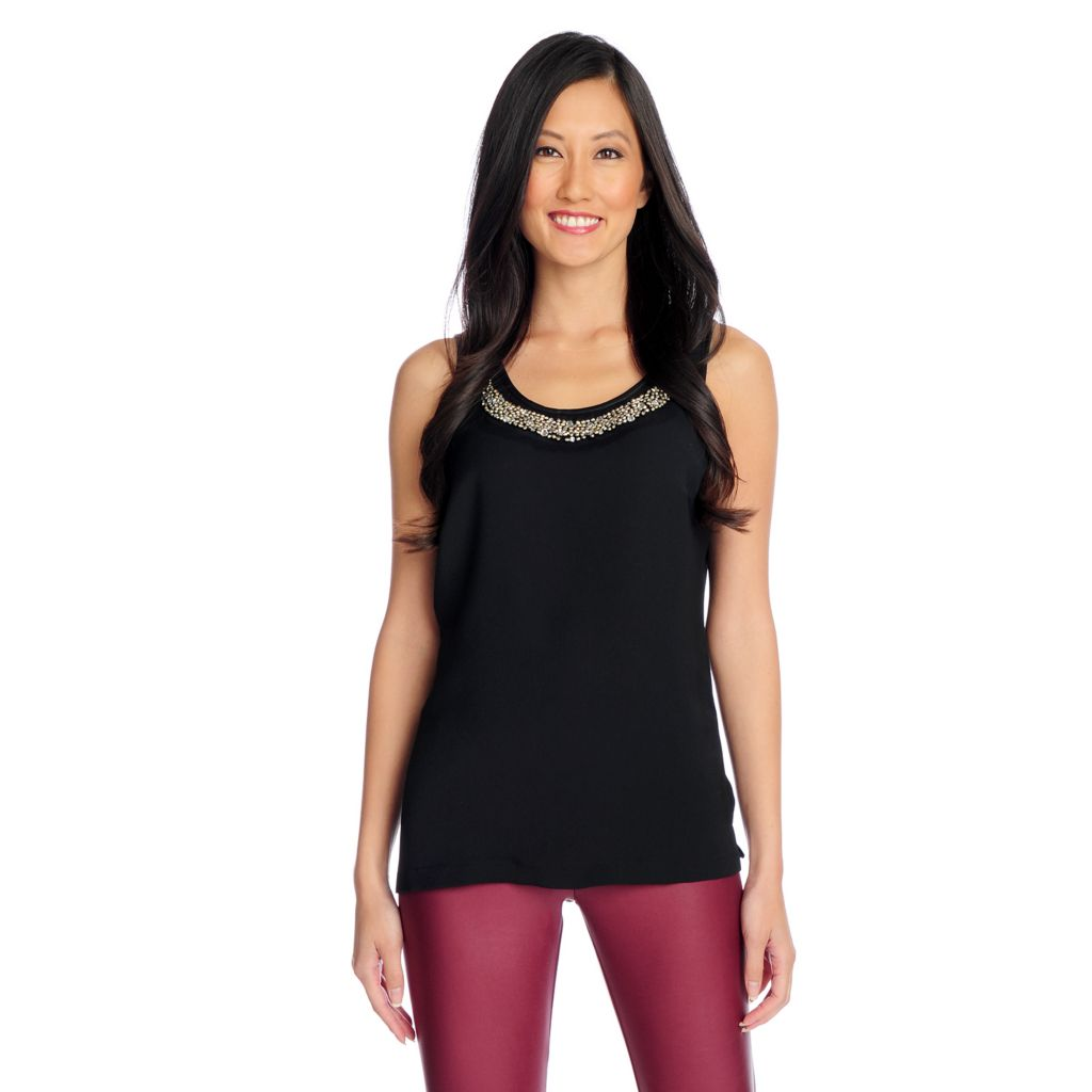 719-084 - WD.NY Woven Embellished Scoop Neck Tank Top