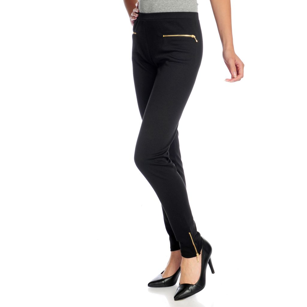 719-086 - WD.NY Ponte Knit Elastic Waist Zipper Detailed Pull-on Pants