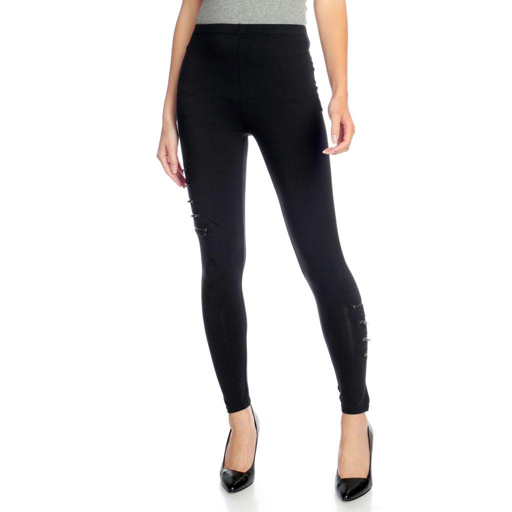 719-087 - WD.NY Knit Elastic Waist Zipper Detailed Leggings