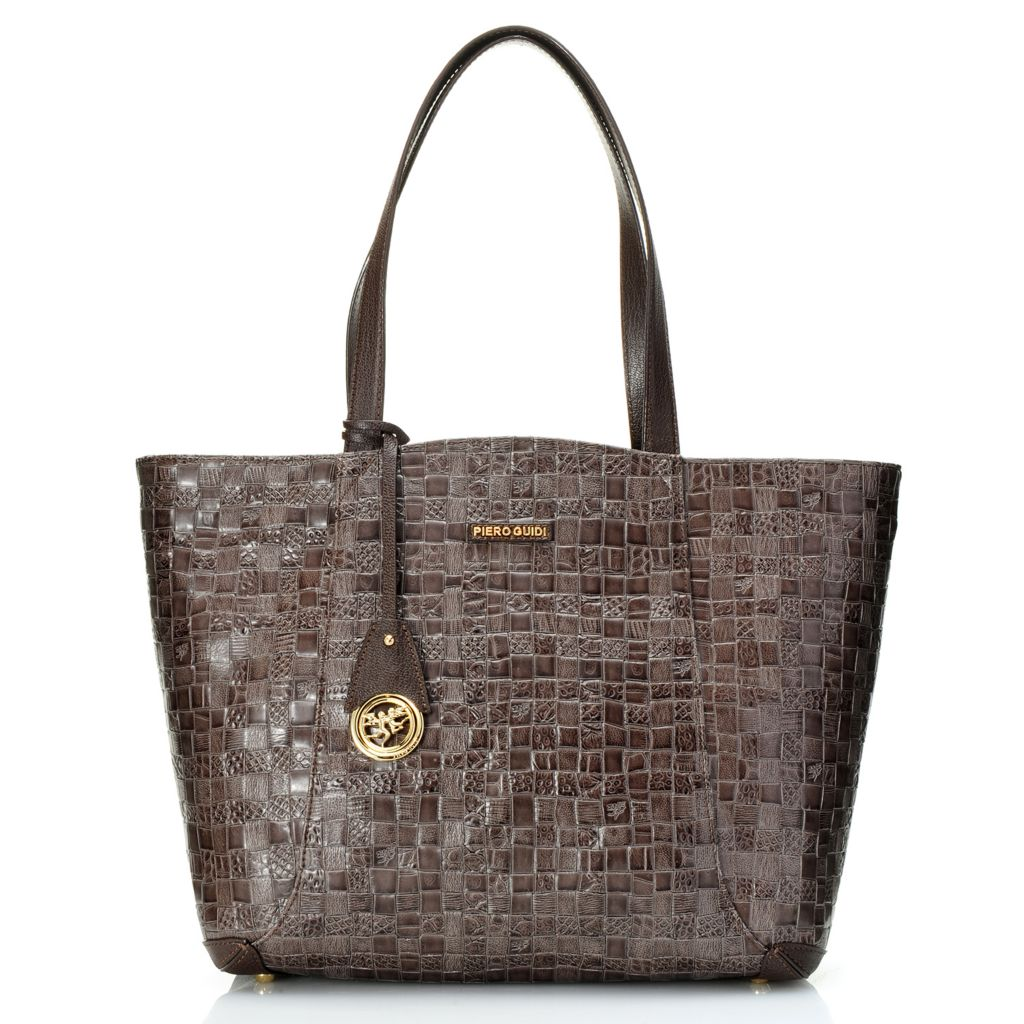719-094 - Piero Guidi Coated Canvas Woven Embossed Intreccio Art Collection Tote