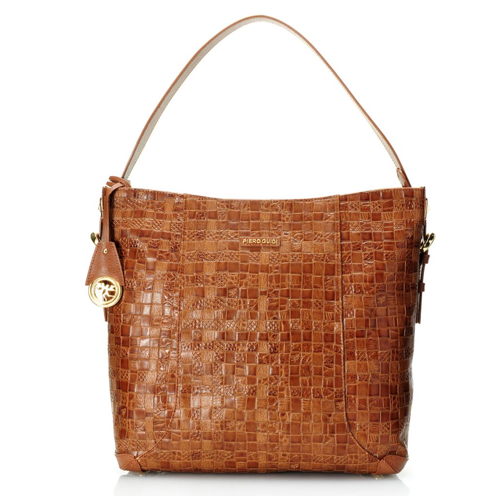 719-095 - Piero Guidi Coated Canvas Woven Embossed Intreccio Art Collection Hobo Handbag