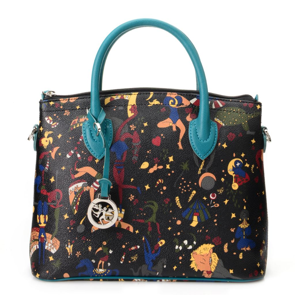 719-099 - Piero Guidi Coated Canvas Magic Circus Collection Dome Satchel