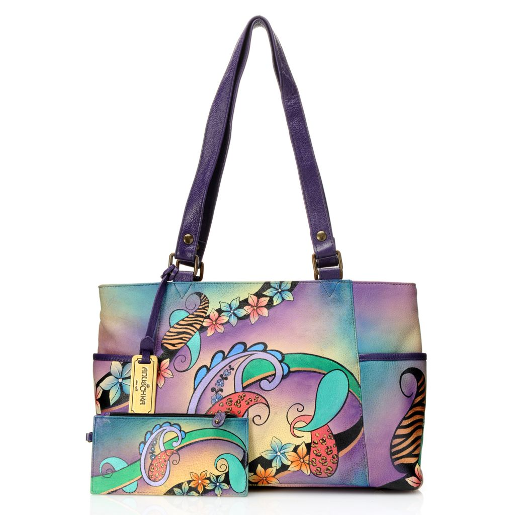719-104 - Anuschka Hand-Painted Leather Double Handle Tote Bag w/ Organizer Wallet