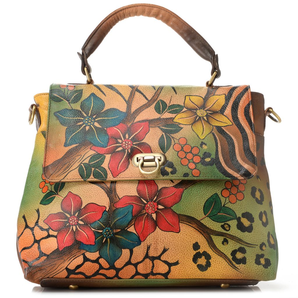719-105 - Anuschka Hand-Painted Leather Flap-over Turn Down Lock Satchel w/ Strap